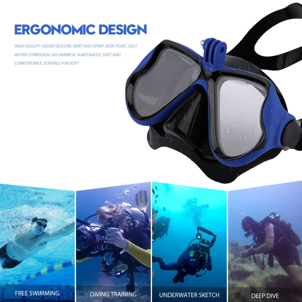 Professional Underwater Camera Plain Diving Mask Scuba Snorkel Swimming Goggles Suitable For GoPro For Xiaomi Camera In Stock hwcamera mount diving mask scuba snorkel swimming goggles for gopro hero 2 3 new arrival
