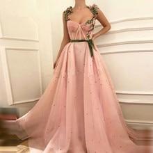 Розовые мусульманские Вечерние платья а силуэта с сердечком из тюля с жемчугом исламский Дубай Саудовский арабский длинный вечерний наряд платье для выпускного вечера