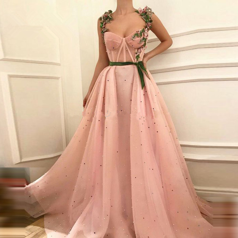 Pink Muslim Evening Dresses A-line Sweetheart Tulle Pearls Islamic Dubai Saudi Arabic Long Formal Evening Gown Prom Dress