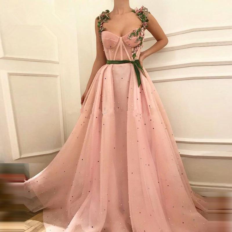 Pink Muslim Evening Dresses A-line Sweetheart Tulle Pearls Islamic Dubai Saudi Arabic Long Formal Evening Gown Prom Dress