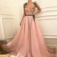 Pink Muslim Evening Dresses A line Sweetheart Tulle Pearls Islamic Dubai Saudi Arabic Long Formal Evening Gown Prom Dress