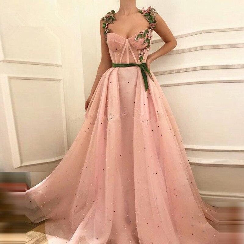 Rosa Muslimischen Abendkleider 2019 A-line Liebsten Tüll Perlen Islamischen Dubai Saudi Arabisch Lange Formale Abendkleid Prom Kleid