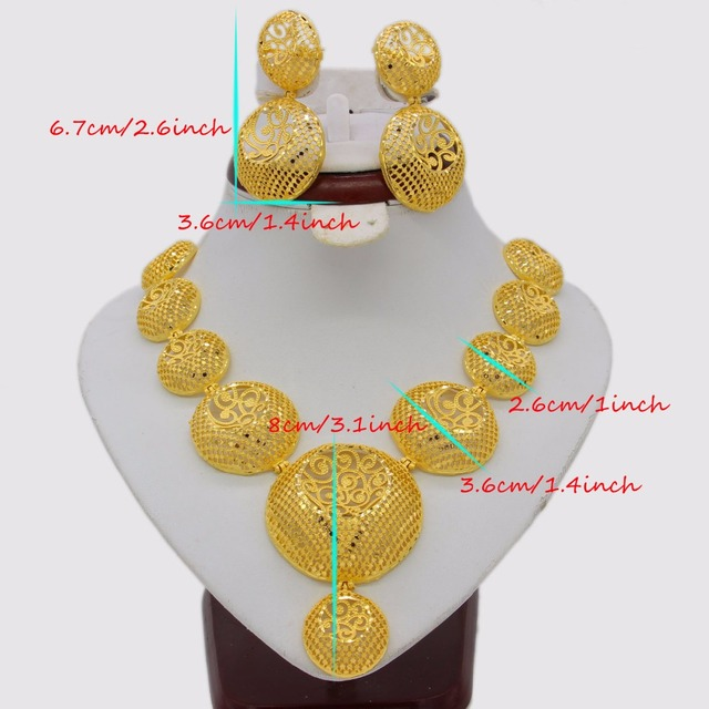 Adixyn Hollow Outvalue Necklace/ Earrings Jewelry Set For Women Gold Color Ethiopian Arabic India Bridal Jewelry