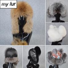 2019 Luxury Women Real Fox Fur Bomber Hat Natural Fox Fur Ushanka Hats Handmade Warm Real Sheepkin Leather Caps Real Fox Fur Cap cheap Bomber Hats doakxol Adult Solid My fur-3157 100 natural fox fur Adjustable suitable for every woman real natural leather