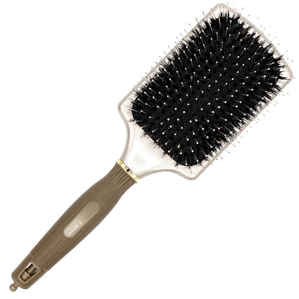 Free Shipping Square Paddle Brush In Gold Boar Bristle Hair Brush With Nylon Tip In Air Paddle Salon Hair Extension Brush Y-8