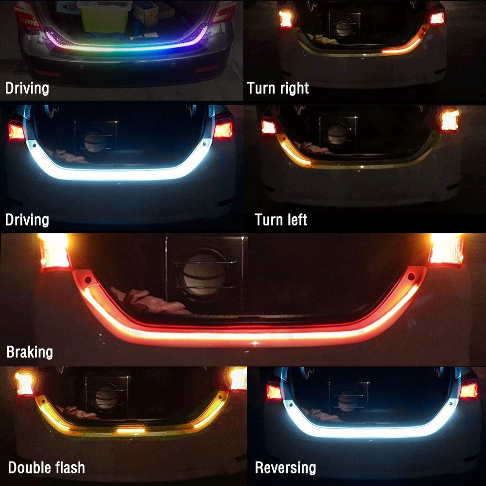 DC12V Waterproof LED Car Strip Lights Flexible Brake Light Strip Car Trunk Tail Brake LED Strip Rear Brake Turn Signal Light