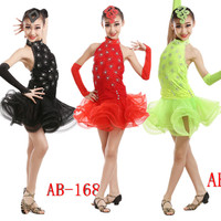 Camisole Skirt,Kids Latin Dance Dress, Child Ballroom Costume Rumba Uniforms,0,Kids Sexy Latin Dance Costume, Ballet Belly Latin