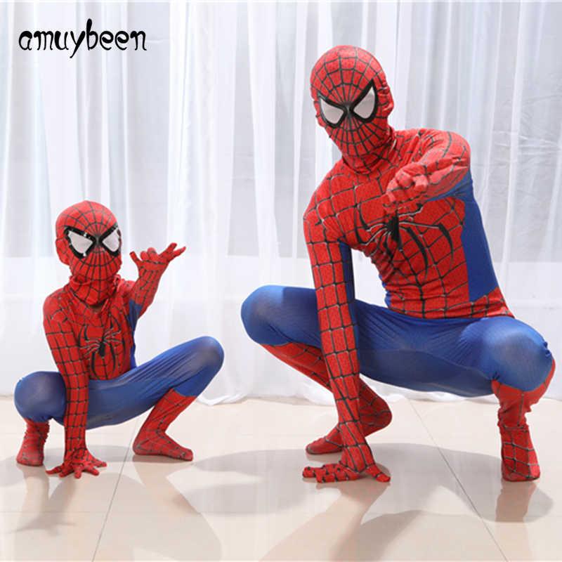 スパイダーマン子供服セットスパイダーマンパーティーコスプレ衣装マスク子供大人スーパーヒーロースパイダーマン赤、青、黒男スーツ