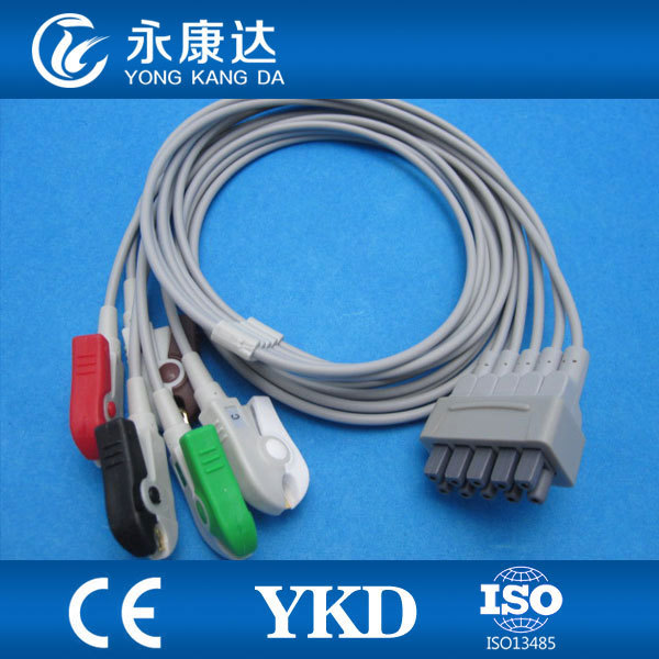 GE-marqutte 5-lead ECG patient monitor cable and leadwires for AHA clip with CE&ISO13485,medical TPU,free shipping