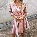 Women Satin Dress 2016 Fashion Vestidos Casual V Neck High Waist Ruffles Asymmetrical Sexy Club Party Dresses Plus Size