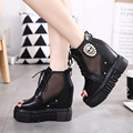 Spring fashion Skull Rhinestone shoes for women wedges ankle boots Net yarn Breathable high platform shoes peep toe heels