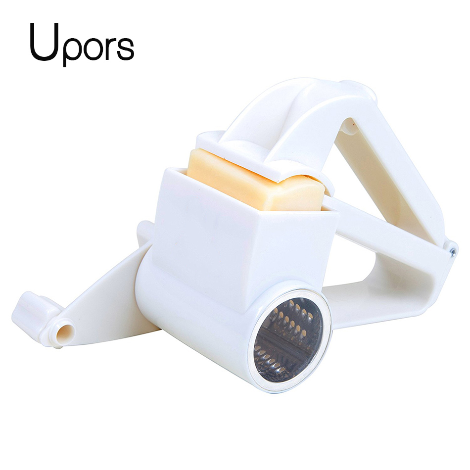 Upors Plastic Hand-Cranked Cheese Grater Rotary Ginger Slicer Grater Cutter for Chocolate with Stainless Steel Drum