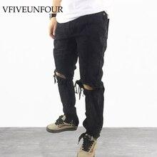 VFIVEUNFOUR 2019 Men Casual Slim Jeans Vintage Damaged Knee Denim Jeans Elastic High Street Hole ankle zipper cool Slim Jeans