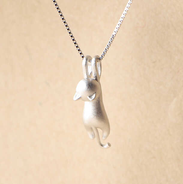 925 Sterling Silver Necklaces Cats Pendants&Necklaces Sterling Silver 925 Necklace Fine Jewelry Colar de Plata  VNS8006