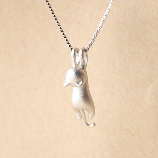 925 Sterling Silver Necklaces Cats Pendants&Necklaces Sterling Silver 925 Necklace Fine Jewelry Colar De Plata  VNS8006