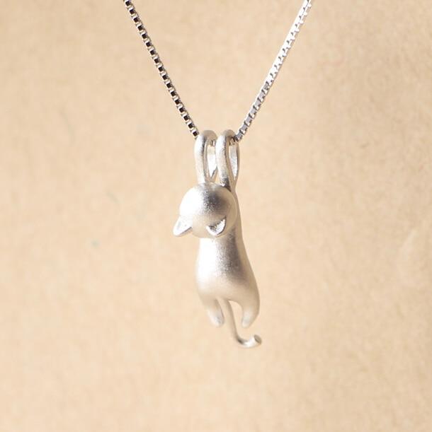 Collares de Plata de ley 925 colgantes de gatos y collares de Plata de ley 925 collar fino collar de joyería de Plata VNS8006