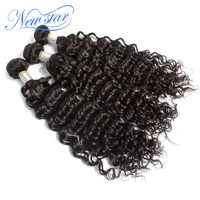 hot sale new star hair Brazilian deep wave virgin hair extentions 3 pieces/lot one donor unprocessed high quality human hair