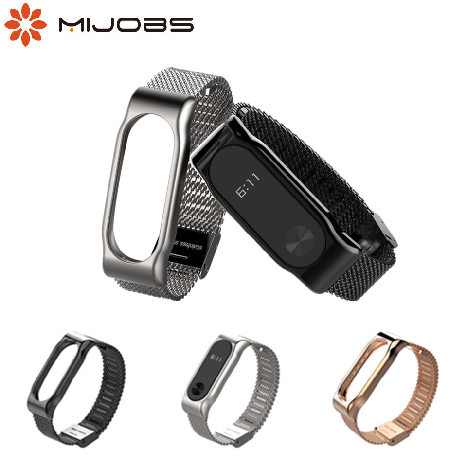 Mijobs Mi Band 2 Strap Bracelet Wrist Mi Band2 Strap Smart Band MiBand 2 Strap Wristband Black Magnet Metal For Xiaomi Mi Band 2