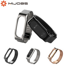 Mijobs Mi Band 2 Strap Bracelet wrist Mi band2 strap Smart Band MiBand 2 Strap Wristband black Magnet Metal for xiaomi Mi Band 2 boorui colorful diamond miband 2 strap newest silicone mi 2 wrist strap correa mi band 2 smart bracelet wristband replacemet