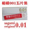 Original japonesa Sagami feliz Sagami 001 condones ultrafinos condones, 5 unids/set condón, 0.01 mm el mundo de condones más delgados para hombre contex