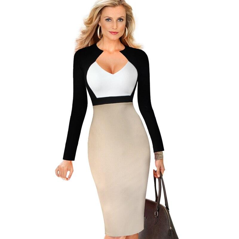 eSale Womens Elegant V Neck Colorblock High Waist Slimming ...