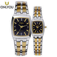 ONLYOU Men Watch Casual Fashion Lover Watches Waterproof Square Gold Ladies Quartz wristwatch Male Clock Relogio Masculino