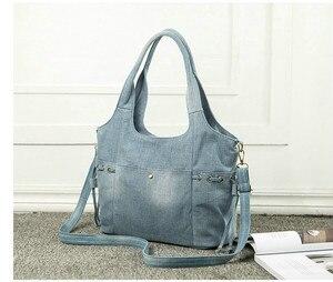 Image 4 - Женская джинсовая сумка на плечо Rdywbu, Новая Модная Джинсовая Высококачественная дорожная сумка через плечо, большая сумка тоут, сумка, сумка, B725