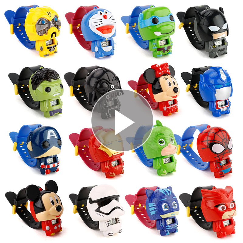 1pc Children Cartoon Watches Batman Captain America Nijago Hulkbuster Iron Man Spiderman Toy Kid Watch Girl Boy Gift Hand Time
