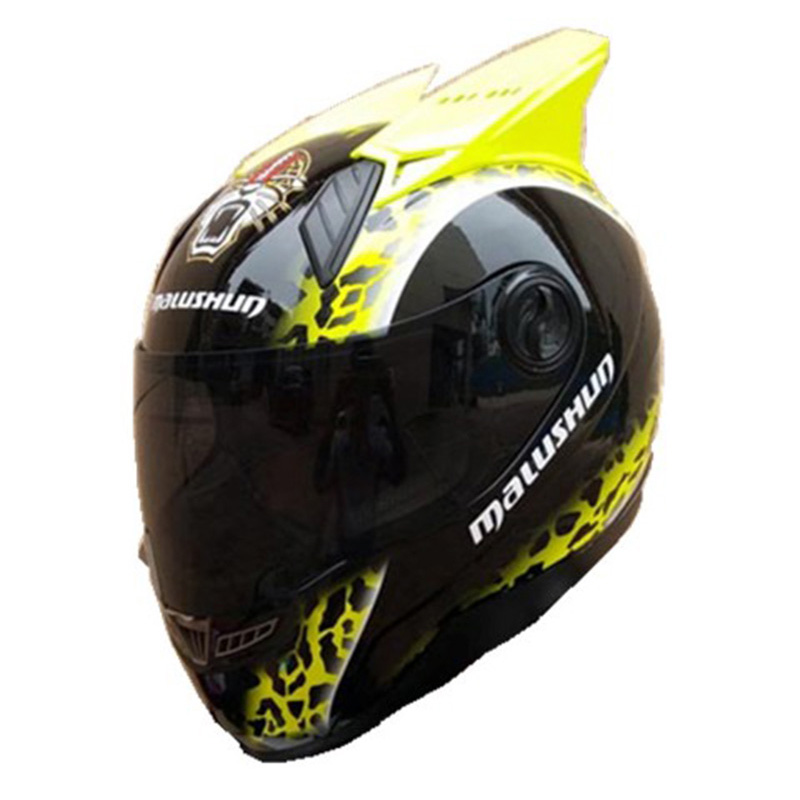 MALUSHUN motorcycle helmet leopard print with horns ABS material Summer season Cool helmet casque moto casco футболка print bar ll cool j