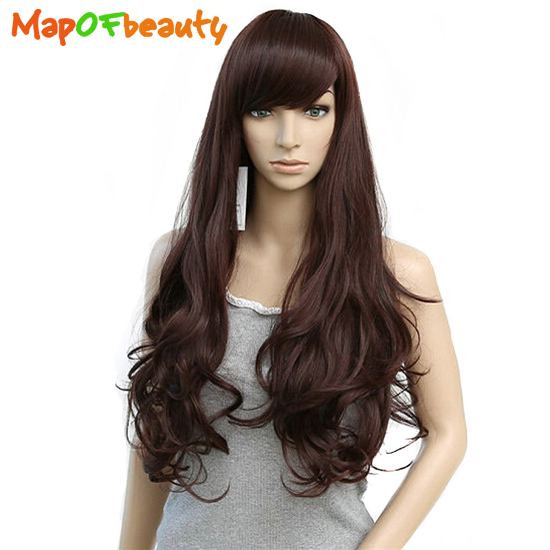 Mapofbeauty Long Loose Wave Light Dark Brown Black 75cm Women Wigs Cosplay Ladys Heat Resistant Synthetic Full Hair Always Buy Good Hair Extensions & Wigs Synthetic Wigs