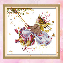 Joy Sunday chinese crossstitch kit set Swing girl kids toy DMC14CT11CT cottonfabric home baby room hotel home painting wholesale