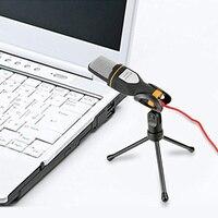 Microfone condensador alta sensibilidade com suporte para gravação computador mic nk-compras