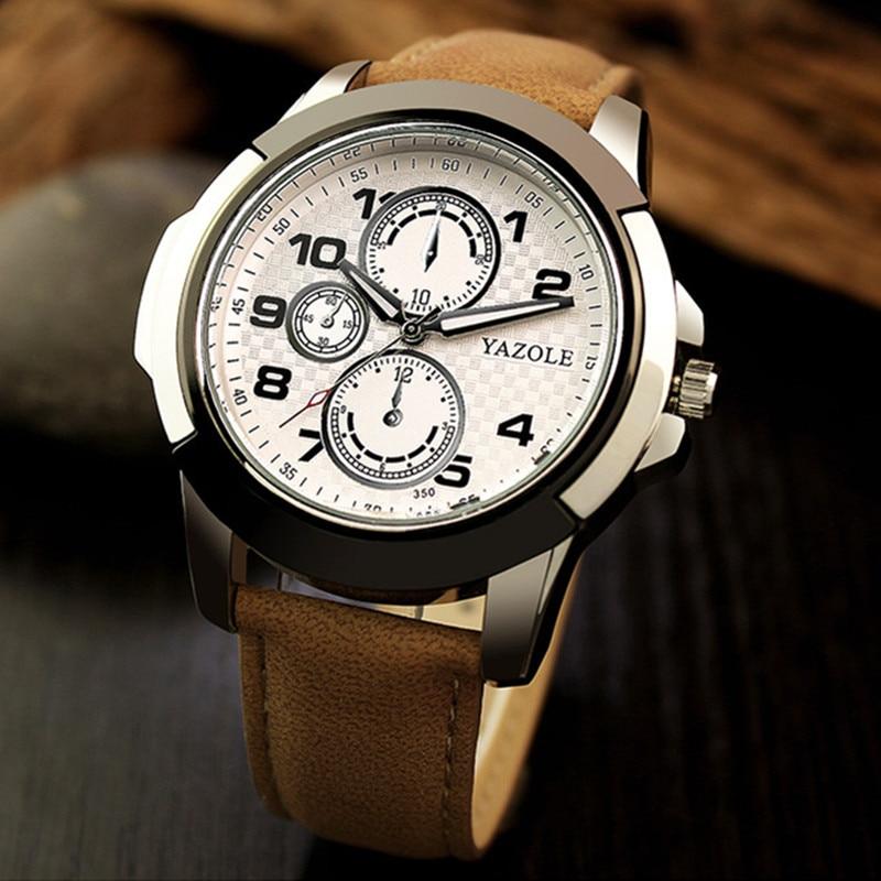 2018 YAZOLE Watch Men Men Sports Watches Luxury Brand Luminous Sport Watch Waterproof Military Watch Leather relogio masculino