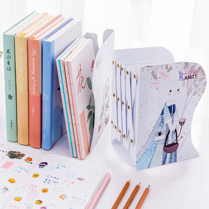 Infant Shining Telescopic Bookshelf Cartoon Student Book Holder Metal Simple Storage Rack Foldable Book Stand Table Bookshelf