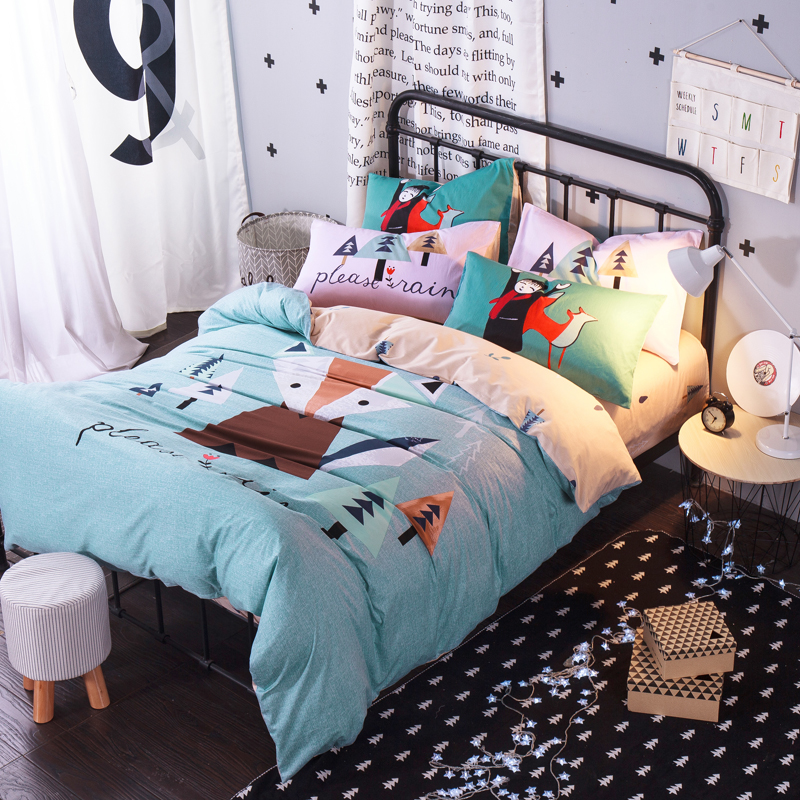 cute fox blue cartoon queen size bedding sets 100 cotton bedlinens flat sheet set printing - Queen Bed Sheets