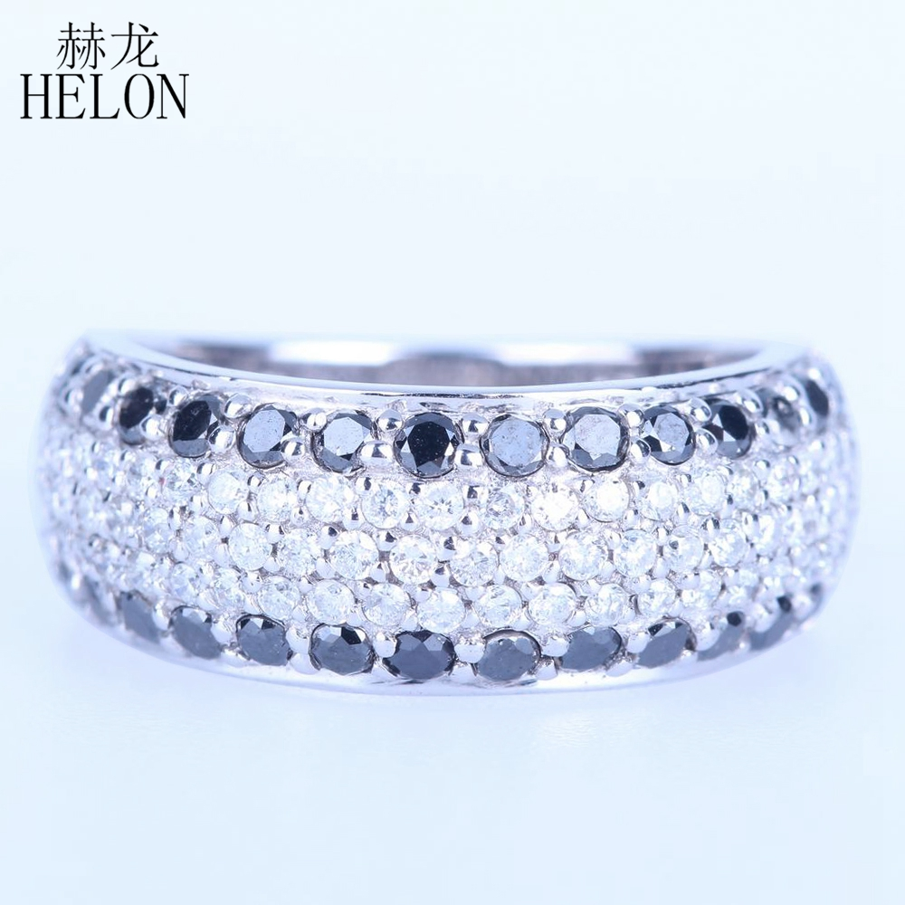 все цены на HELON Solid 14k White Gold 1.4ct Full Cut 100% Genuine Natural Diamonds & Black Diamonds Engagement Wedding Jewelry Band Ring