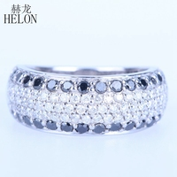 HELON Solid 14k White Gold 1.4ct Full Cut 100% Genuine Natural Diamonds & Black Diamonds Engagement Wedding Jewelry Band Ring
