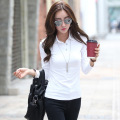 white polo shirts for women cotton polo button down shirts plain black polos shirt plain tops  polos femme  manga larga