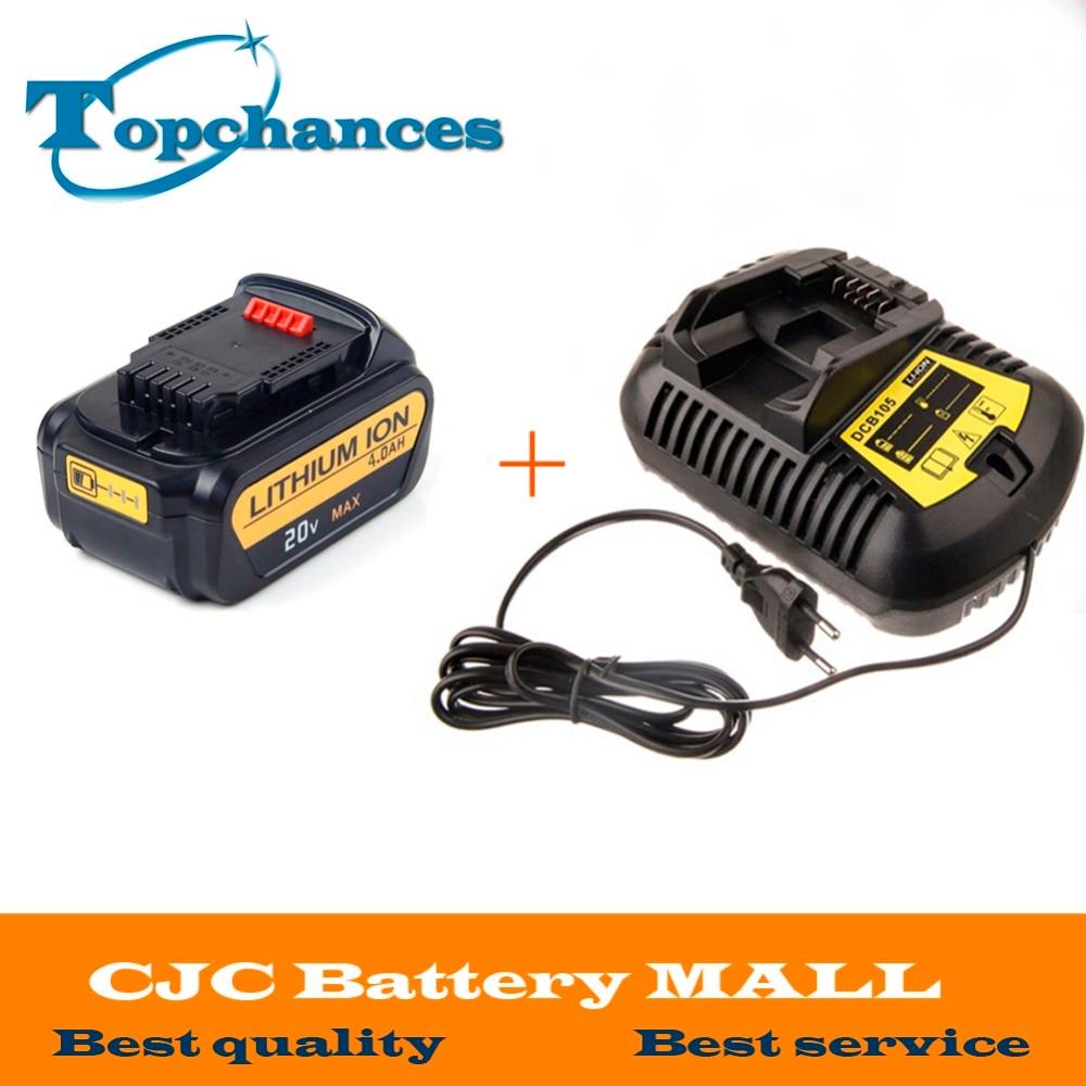 ФОТО  High Quality 20V 4000mAh Power Tools Batteries Replacement Cordless for Dewalt DCB181 DCB182 DCD780 DCD785 DCD795+Charger