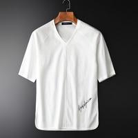 Minglu Plant Silky Fabric Short Sleeves V neck Men's Shirts New Arrival Slim Summer Thin Breathable White Men's Shirts M 4XL