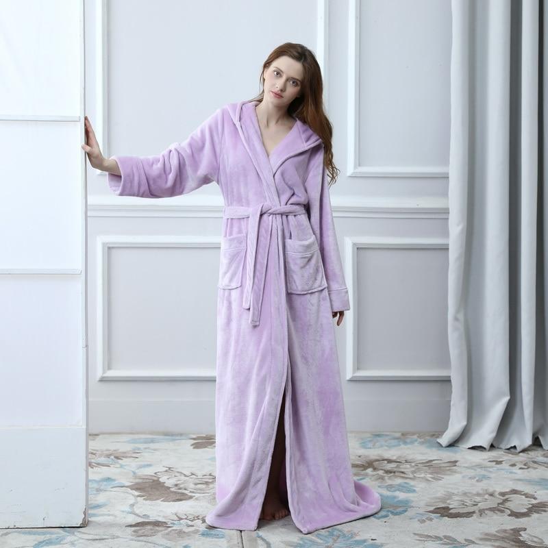 69c17c3b3f Dropwow Lovers Plus Size Flannel robe Hooded extra Long Warm ...