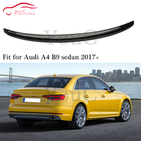 For Audi A4 B9 S4 Style Carbon Fiber Rear Spoiler Trunk Boot Tail Lip Wing Splitter 4 door saloon 2017 + Car styling rear bumper