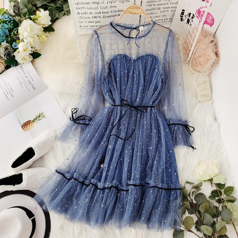 HISUMA spring autumn new women Star sequins gauze flare sleeve lace-up Princess dress female elegant o-neck mesh puff dresses 5