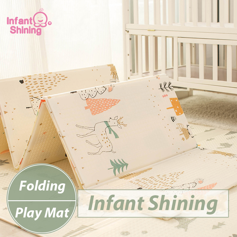 Infant Shining Kids Play Mat Folding Puzzle Playmat Game Pad for Infants 200*150*1cm Foam Crawling Mat Pack and Play Mattress-in Play Mats from Toys & Hobbies