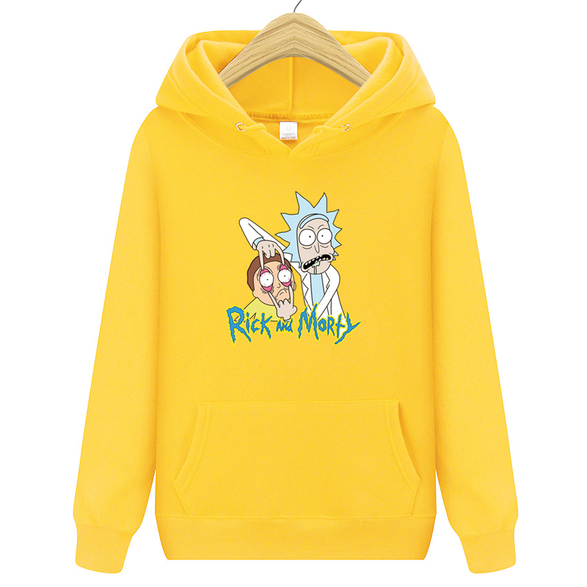 Autumn Winter Hot Printing Rick And Morty Sweatshirts Men Anime Hoodies Funny Hoody Cotton Loog Sleeve Casual Tops Rick Morty