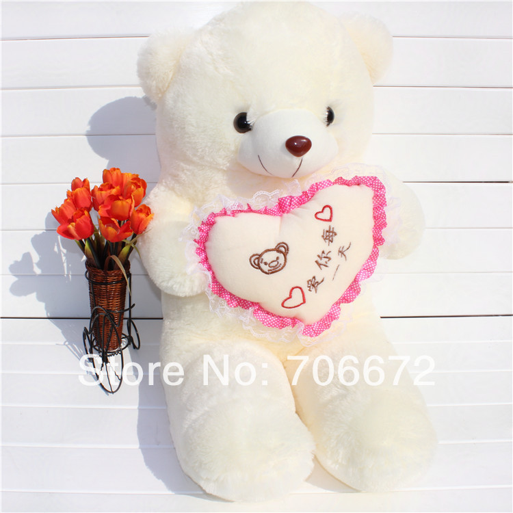 New stuffed chinese words means  love you every day  teddy bear Plush 80 cm Doll 31 inch Toy gift wb8112 stuffed animal 120 cm cute love rabbit plush toy pink or purple floral love rabbit soft doll gift w2226