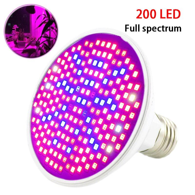2018 nueva 200 Led crece la luz planta espectro UV IR luces bombillas E27 lámpara de flores semillas interior invernadero hidro