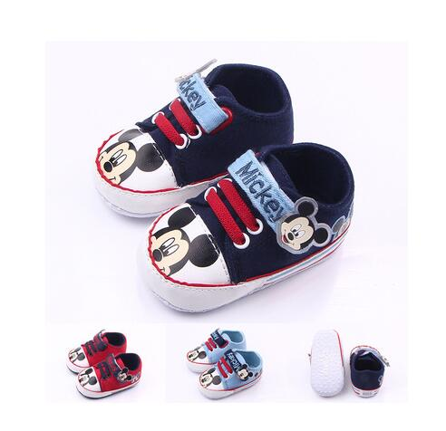 Fashion Brand New Baby Boy Shoes First Walkers Skid-Proof Bottom Sapatinho Bebe Girl Boy Scarpe Neonata Toddler Mickey Sneakers