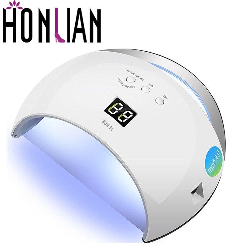 Honlian SOLEIL 6 UV Led Ongles Lampe 48 W Pour Tous Les Gel polonais Néon Couleur LED Nail Sèche-Manucure Dehydretes Machine Infrarouge lampara uv