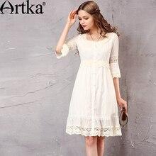 Artka Women's Spring New White Lace Patchwork Cotton Dress Vintage O-Neck Puff Sleeve Empire Waist All-match Dress LA10660C